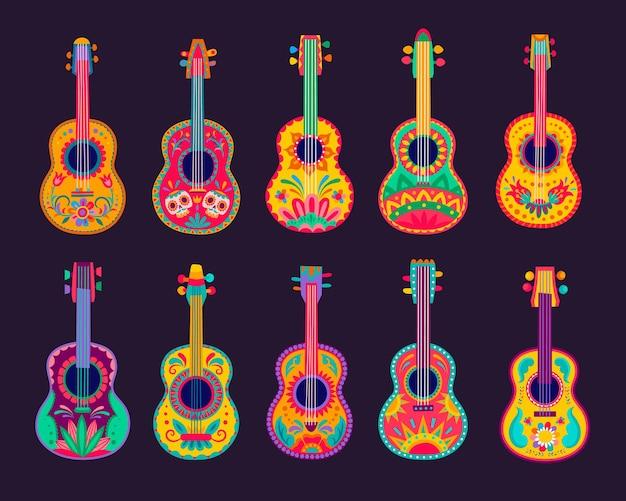 Chitarre messicane dei cartoni animati, strumenti musicali latini vettoriali di musicisti mariachi con motivi floreali luminosi, teschi calavera e ornamenti etnici messicani. festa della festa del cinco de mayo