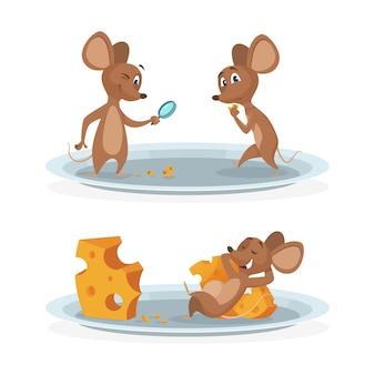 Topi del fumetto sull'illustrazione del piatto di formaggio. topo con formaggio su fondo bianco