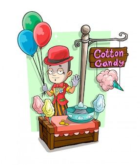 Personaggio dei cartoni animati mime e negozio di zucchero filato