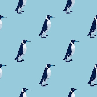 Modello senza cuciture di stile minimalista del fumetto con ornamento semplice pinguini.