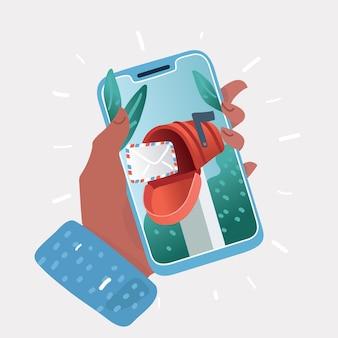 Cartone animato di app mobile - marketing e promozione e-mail. mani umane con telefono.