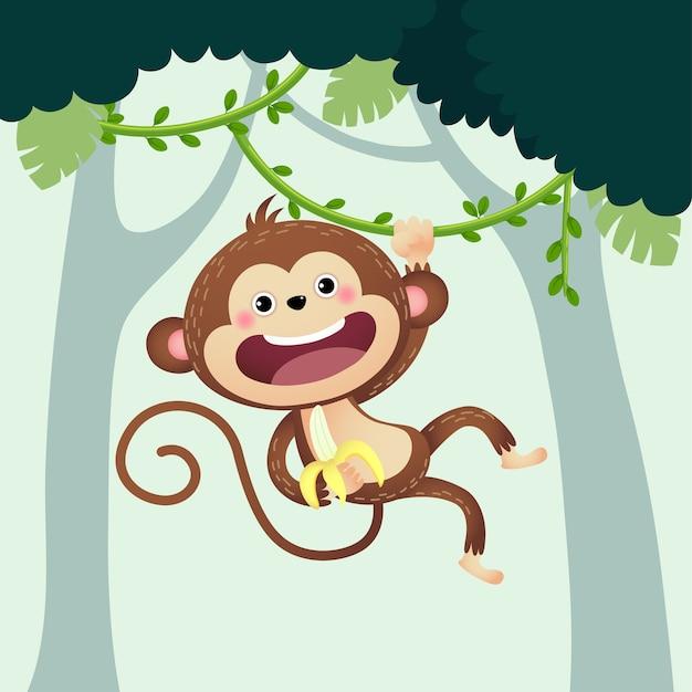 Scimmia cartone animato con una banana appesa alla liana nella giungla.