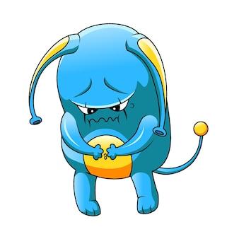Il cartone animato del mostro blu e giallo in piedi con la faccia spaventosa