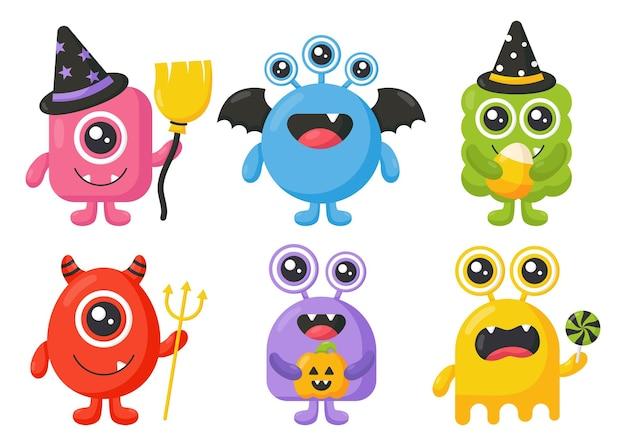 Mostro dei cartoni animati simpatici mostri felici halloween su sfondo bianco