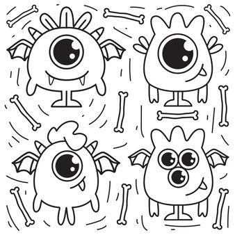 Doodle del mostro del fumetto isolato su bianco