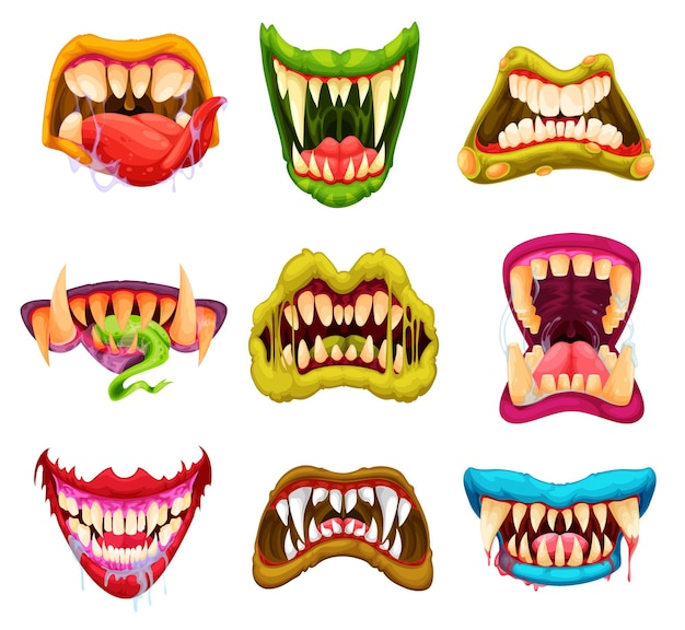 Mascelle di lupo mannaro e vampiro mostro dei cartoni animati con zanne e lingue affilate, maschere di halloween vettoriali. falena mostruosa di spaventosi volti sorrisi malvagi di bestie, zombi o creature horror aliene e denti della mascella del diavolo