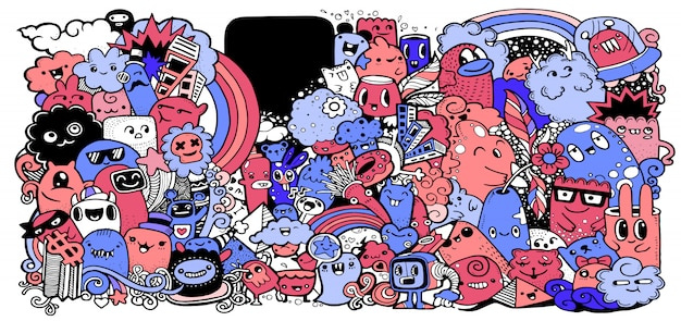 Collezione di mostri dei cartoni animati. set di gruppo di mostri dei cartoni animati