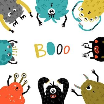 Cornice di mostri dei cartoni animati. personaggi umorismo mascotte modello rotondo, piccoli simboli pelosi divertenti dell'orrore, creature carine con facce divertenti per gli inviti alla festa