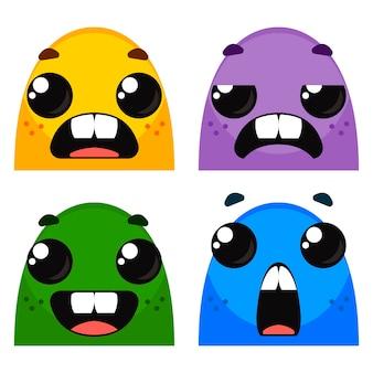 Mostri dei cartoni animati insieme di emozioni diverse sui volti dei personaggi vettore di colore brillante