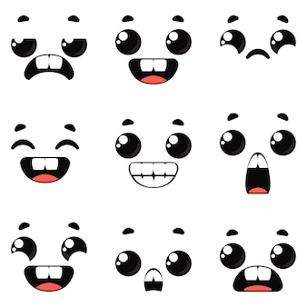 Mostri dei cartoni animati insieme di diverse emozioni sui volti dei personaggi vector black
