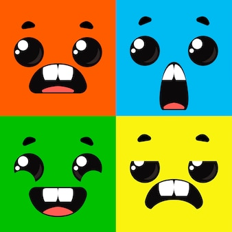 Mostri dei cartoni animati. insieme di diverse emozioni sui volti dei personaggi. disegno vettoriale divertimento