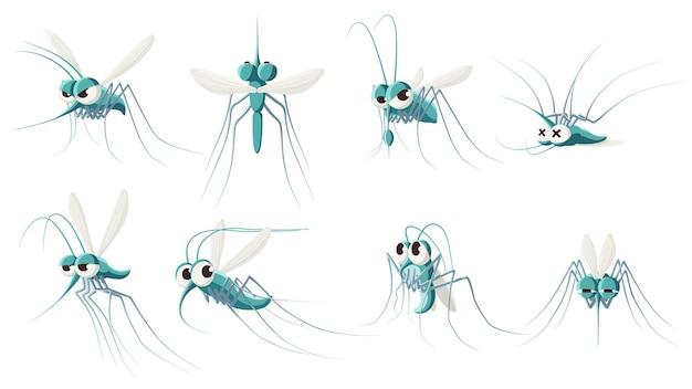 Insieme dell'illustrazione della zanzara del fumetto. insetto zanzara, collezione di personaggi moscerino dei cartoni animati