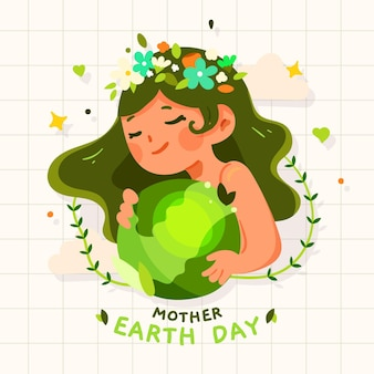 Cartoon madre terra giorno illustrazione