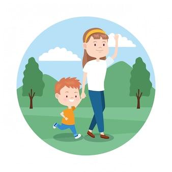 Madre del fumetto con suo figlio nel parco