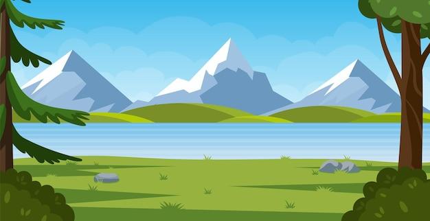 Cartone animato paesaggio di montagna con foresta estiva.