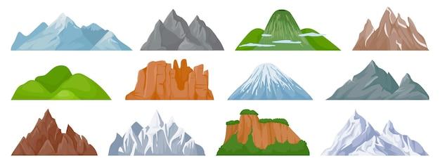 Montagne del fumetto. picco di montagna innevato, collina, iceberg, scogliera di arrampicata su supporto roccioso. insieme di vettore degli elementi della mappa escursionistica turistica e paesaggistica. paesaggio collinare, picco di montagna all'aperto per l'illustrazione delle escursioni