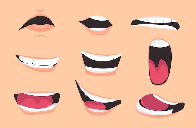 Set di espressioni di bocca di cartone animato