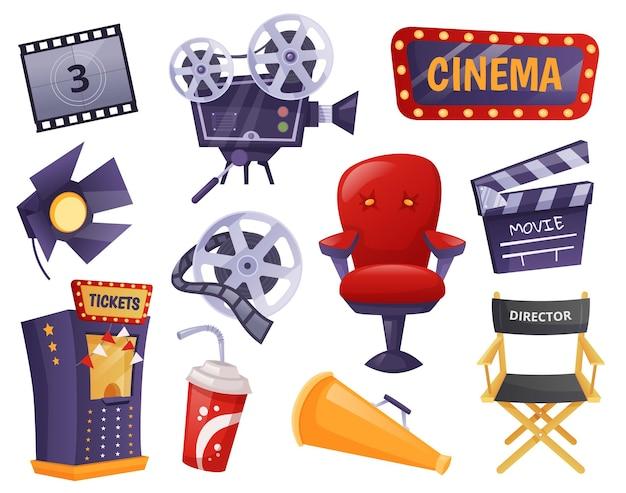 Elementi di film di cartoni animati, intrattenimento cinematografico, industria cinematografica. ciak, videocamera retrò, sedia da regista, set vettoriale di attrezzature per la realizzazione di film