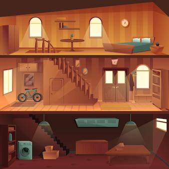 Cartone animato casa a più piani in sezione