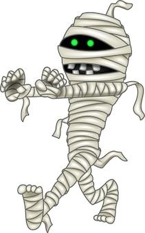 Mummia del fumetto isolata su fondo bianco