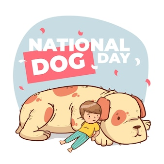 Illustrazione del giorno nazionale del cane dei cartoni animati
