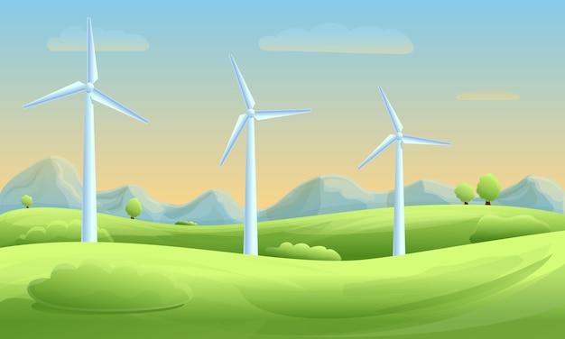 Panorama della natura del fumetto con i mulini a vento al tramonto, illustrazione