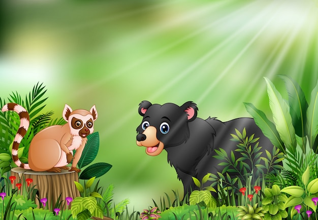 Fumetto della scena della natura con un lemure che si siede sul ceppo di albero e sull'orso nero