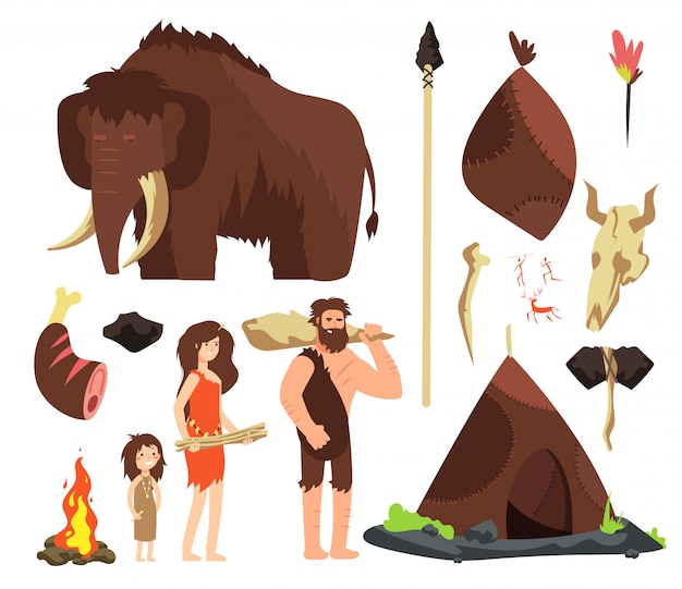 Personaggi dei cartoni animati persone neolitiche. famiglia preistorica di neanderthal con animali e armi.