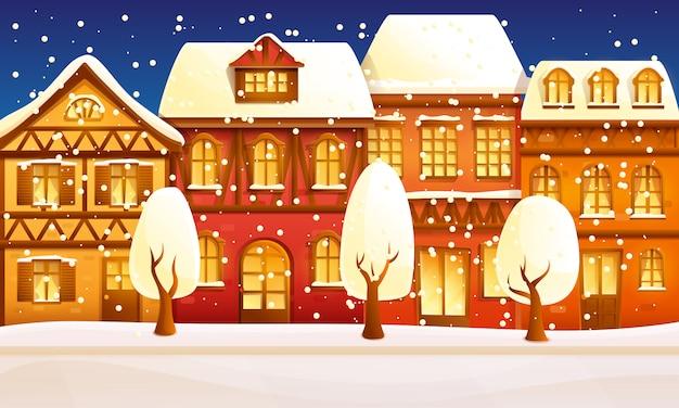 Vecchia città europea di notte del fumetto in inverno, illustrazione