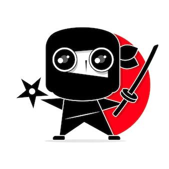 Cartoon ninja disegno in stile manga chibi. illustrazione vettoriale carino.