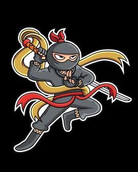 Il ninja del fumetto sta prendendo una spada in una posa fresca