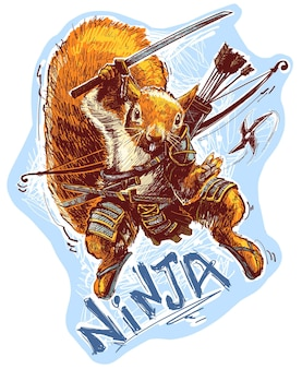 Scoiattolo guerriero ninja del fumetto con arco e frecce che tengono la spada del samurai e lanciando shuriken. vettore su sfondo blu.