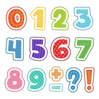 Numeri del fumetto, alfabeto colorato divertente per i bambini della scuola testo clipart setisolated