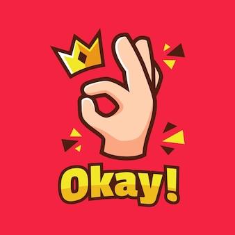 Cartone animato ok segno della mano con corona