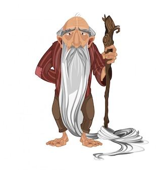Cartone animato vecchio uomo pastore