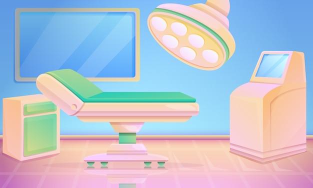 Sala operatoria del fumetto con attrezzatura medica, illustrazione.