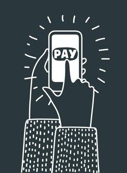 Illustrazione del profilo del fumetto della mano che tiene mobile