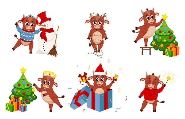 Bue del fumetto. felice anno nuovo cinese, anno della mucca. set di grafica natalizia, simpatici tori per il design del nuovo anno.