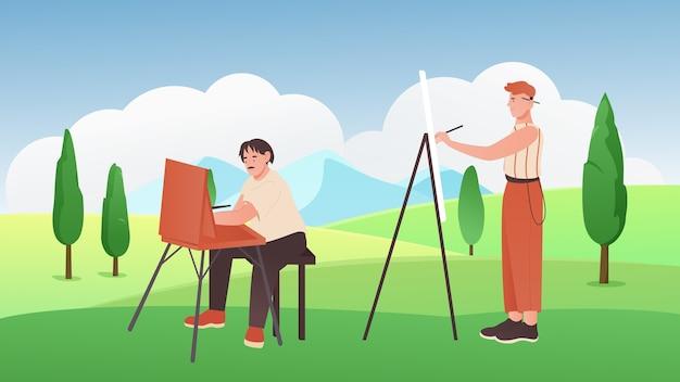 Pittori di cartoni animati che tengono i pennelli, seduti, in piedi accanto a cavalletti e pittura