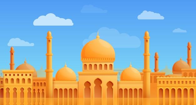 Panorama del fumetto della città araba con l'illustrazione di vettore della moschea