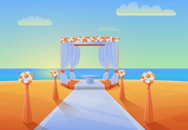 Panorama del fumetto della spiaggia con attrezzatura per la cerimonia di nozze, illustrazione