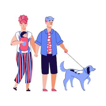 Genitori del fumetto con il bambino che cammina un cane - famiglia felice sulla passeggiata per il tempo libero
