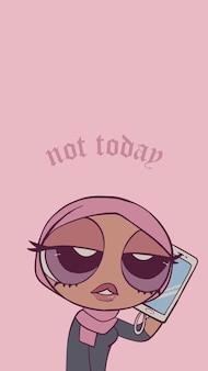 Cartone animato rosa pastello anime ragazza islamica con telefono elegante personaggio femminile alla moda