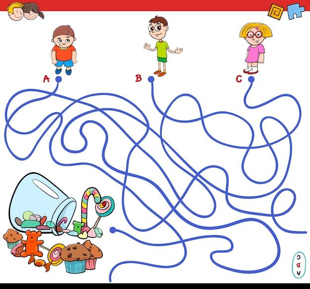 Percorso di labirinto di cartoni animati con bambini e caramelle