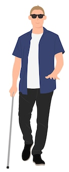 Cartoon persone character design cieco giovane uomo a piedi con un bastone da passeggio. ideale sia per la stampa che per il web design.