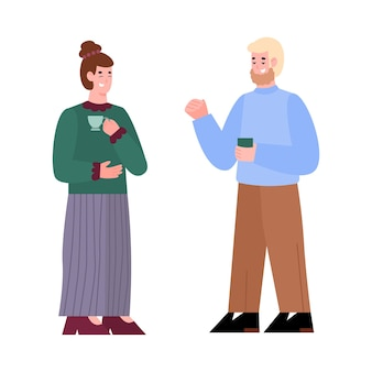 Cartoon persone in pausa caffè due amici che bevono tè