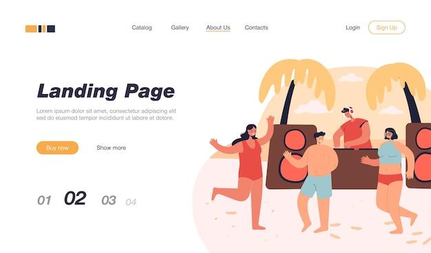 Gente del fumetto che balla sulla spiaggia estiva. modello di pagina di destinazione