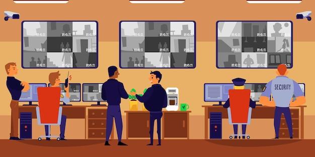 Gente del fumetto nella stanza di sicurezza parlando e guardando il monitor della telecamera di sorveglianza