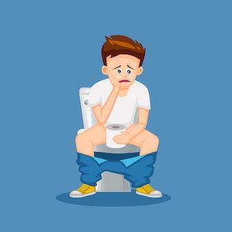 Fumetto della gente che si siede sulla toilette nell'illustrazione di progettazione del fumetto