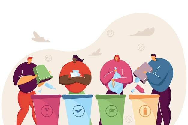 La gente del fumetto che ordina insieme la spazzatura illustrazione vettoriale piatto. quattro uomini e donne in piedi vicino a contenitori per carta, plastica, rifiuti organici e di vetro. riciclaggio, raccolta differenziata, concetto di ecologia